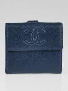 Chanel Blue Caviar Leather S-Double Compact Wallet