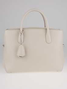 Christian Dior Linen Pebbled Leather Large Bar Tote Bag
