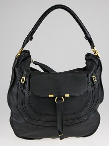 Chloe Black Leather Marcie Animation Hobo Bag