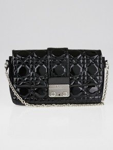 Christian Dior Black Cannage Quilted Patent Leather New Lock Pouch Clutch Bag