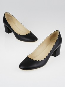 Chloe Black Leather Scalloped Lauren Pumps Size 9/39.5