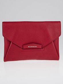 Givenchy Red Sugar Goatskin Leather Envelope Clutch Bag