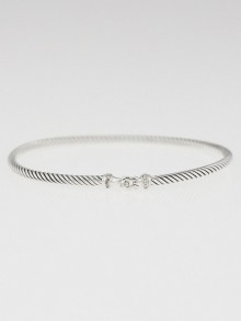 David Yurman 3mm Sterling Silver and Diamond Cable Buckle Bracelet