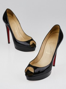 Christian Louboutin Black Patent Leather Banana 140 Peep-Toe Pumps Size 8/38.5