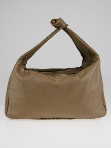 Bottega Veneta Grey Intrecciato Woven Leather Knot Hobo Bag