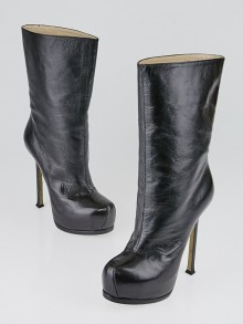 Yves Saint Laurent Black Embossed Patent Leather Tribtoo Boots Size 6.5/37