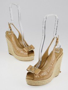 Christian Dior Beige Cannage Quilted Patent Leather Espadrille Wedge Sandals Size 5.5/36