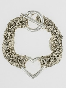 Tiffany & Co. Silver Ten Row Chain Heart Toggle Bracelet