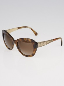 Chanel Brown and Goldtone Acetate Frame Butterfly Signature Sunglasses-5346