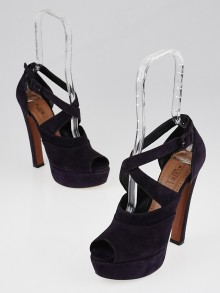 Alaïa Purple Suede Wrap Peep-Toe Platform Pumps Size 6.5/37