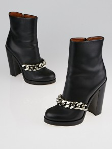 Givenchy Black Leather Laura Chain Boots Size 8/38.5