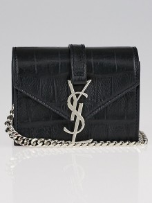 Yves Saint Laurent Black Embossed Leather Candy Bag
