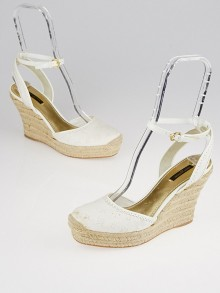 Louis Vuitton White Monogram Broderie Anglaise 'Think of You' Espadrille Wedges Size 9.5/40
