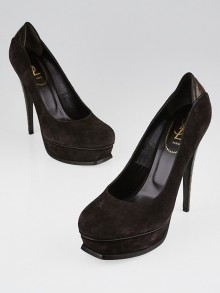 Yves Saint Laurent Brown Suede and Embossed Leather Platform Pumps Size 10/40.5
