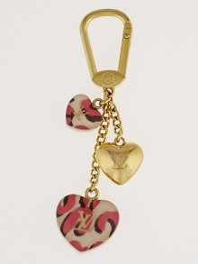 Louis Vuitton Pink Infini Leopard Stephen Sprouse Heart Couer Key Holder and Bag Charm