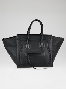 Celine Black Drummed Calfskin Leather Medium Phantom Luggage Tote Bag