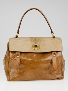 Yves Saint Laurent Brown Embossed Patent Leather and Calf Hair Patchwork Medium Muse Two Bag