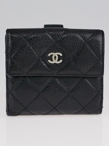 Chanel Black Caviar Leather S-Double Compact Wallet