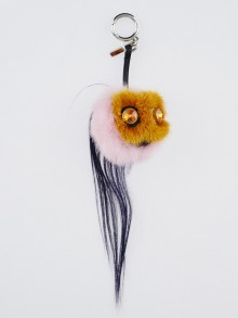 Fendi Pink Fur 'Marshmallow' Monster Bag Bugs Key Chain and Bag Charm