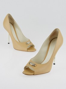Gucci Beige Smooth Leather Open Toe Pumps Size 8.5/39
