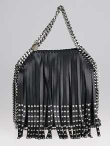 Stella McCartney Black Faux Leather Studded Fringe Mini Falabella Tote Bag