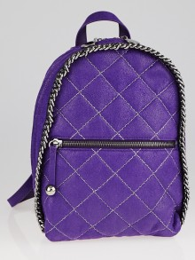 Stella McCartney Purple Quilted Faux Leather Falabella Mini Backpack