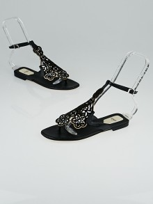 Fendi Black Leather Laser Cut Thong Sandals Size 6/36.5