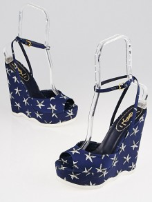 Yves Saint Laurent Blue/White Printed Canvas Riviera Wedges Size 8.5/39