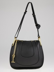 Chloe Black Pebbled Leather Hayley Small Hobo Bag