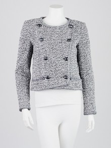 Chanel Blue/White Cotton Tweed Cropped Jacket Size 6/38