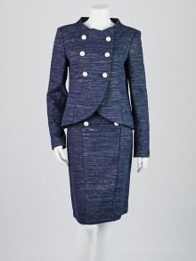 Chanel Blue Cotton Tweed Skirt Suit Set Size 8/40