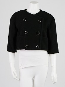 Chanel Black Wool Blend Cropped Jacket Size 8/40