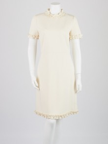 Gucci Ivory Rayon Ruffled Short-Sleeved Dress Size L