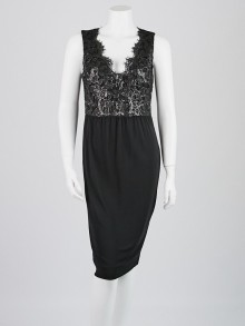 Gucci Black Viscose/Cotton Lace Sleeveless Dress Size M