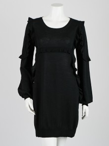 Stella McCartney Black Wool Long Sleeve Ruffle Dress Size 6/40