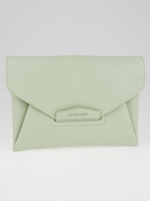 Givenchy Light Green Sugar Goatskin Leather Medium Envelope Clutch Bag