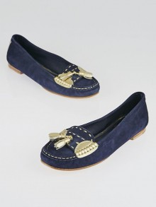 Chanel Blue Suede Tassel Loafers Size 7.5/38
