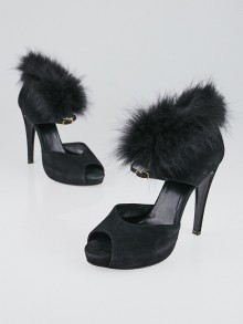 Hermes Black Suede and Fox Fur Peep Toe Pumps Size 9.5/40