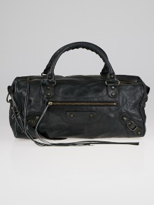 Balenciaga Black Lambskin Leather Twiggy Bag