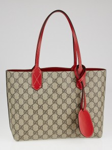 Gucci Beige/Red GG Coated Canvas Supreme Reversible Small Tote Bag