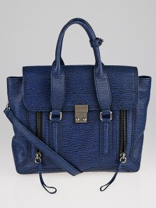 3.1 Phillip Lim Blue Shark Embossed Leather Medium Pashli Satchel Bag