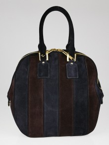 Burberry Blue/Burgundy Suede Striped Medium Orchard Bag