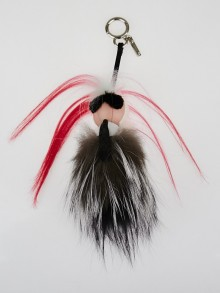 Fendi Pink and Silver Fur Mini Karlito Bag Charm