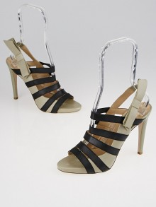 Valentino Grey Leather and Black Nylon Strappy Slingback Sandals Size 8.5/39