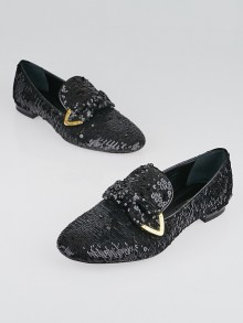 Louis Vuitton Black Sequins and Leather Loafers Size 6.5/37