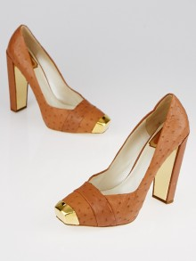 Christian Dior Brown Ostrich Pumps Size 8.5/39