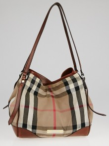 Burberry Brown Leather Bridle House Check Canvas Canterbury Tote Bag