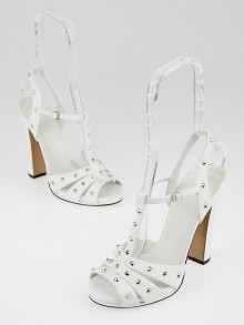 Gucci White Leather Studded Jacquelyne T-Strap Sandals Size 7.5/38