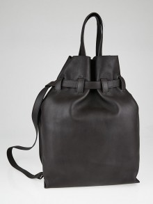 Fendi Brown Leather Extra Large Cinch Bucket Bag