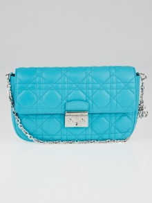 Christian Dior Turquoise Cannage Quilted Lambskin Leather Miss Dior Small Flap Bag